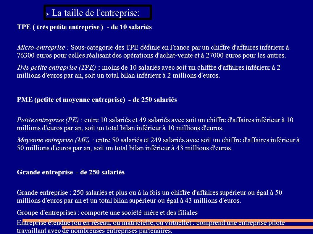La taille de l'entreprise: TPE ( très petite entreprise ) - de 10 salariés Micro-entreprise : Sous-catégorie des TPE définie en France par un chiffre