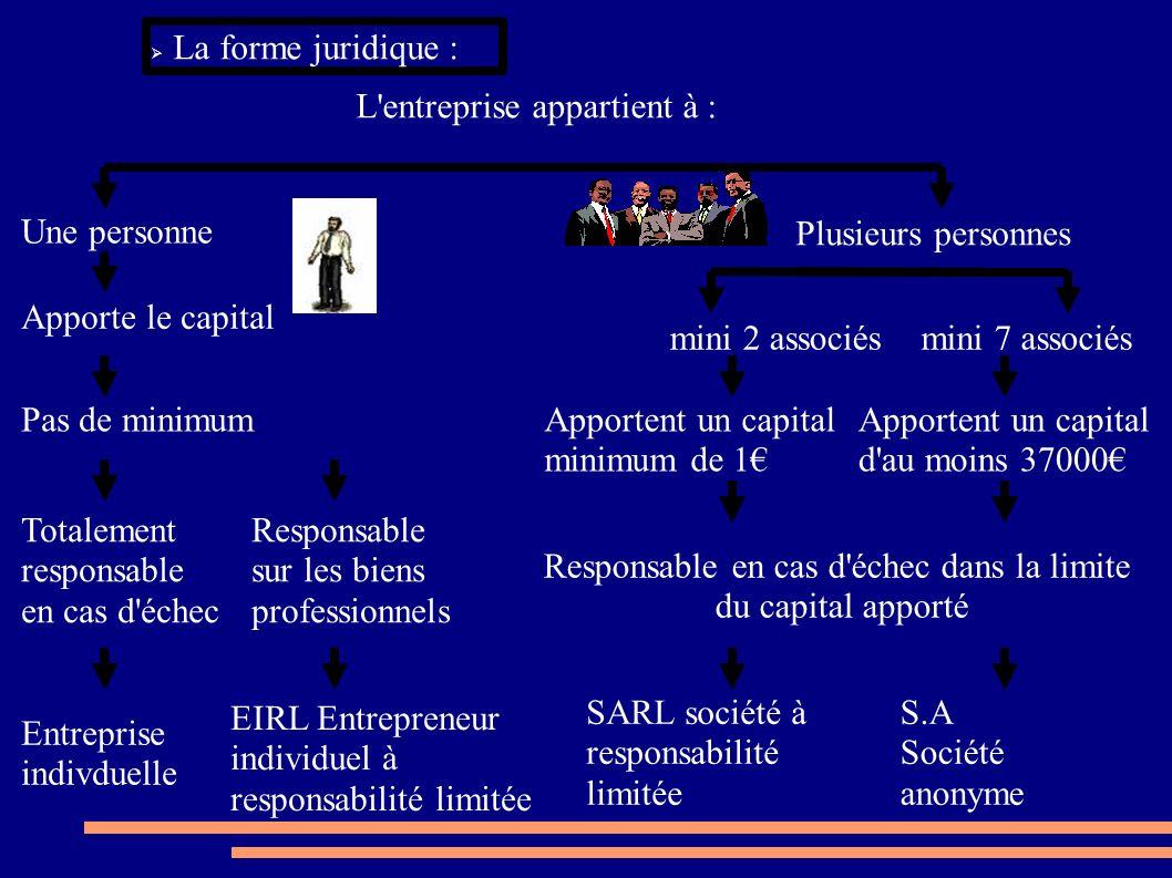 La forme juridique : L'entreprise appartient à : Une personne Plusieurs personnes mini 2 associésmini 7 associés Apporte le capital Apportent un capit