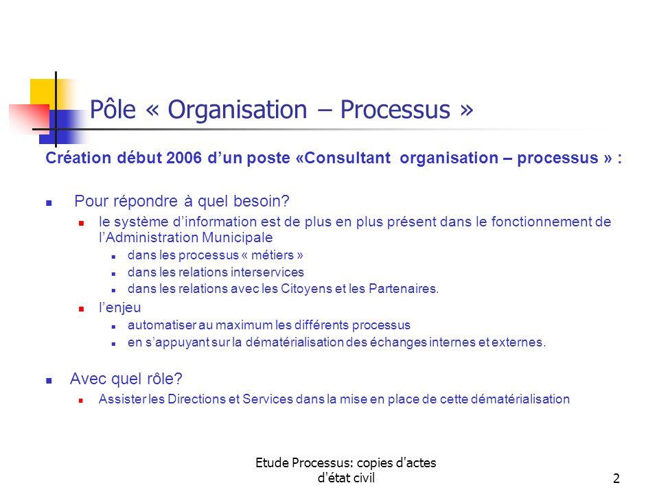 Etude Processus: copies d'actes d'état civil2 Pôle « Organisation – Processus » Création début 2006 dun poste «Consultant organisation – processus » :