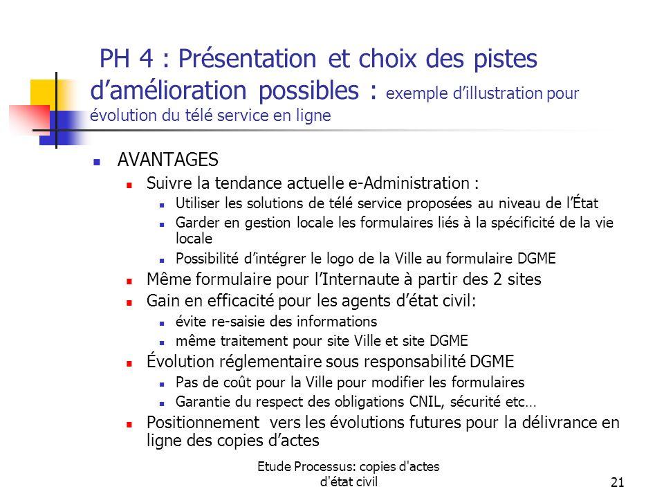 Etude Processus: copies d'actes d'état civil21 PH 4 : Présentation et choix des pistes damélioration possibles : exemple dillustration pour évolution