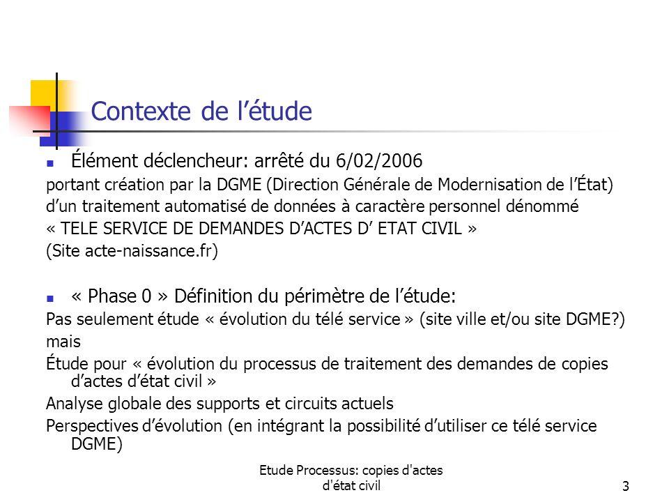 Etude Processus: copies d'actes d'état civil3 Contexte de létude Élément déclencheur: arrêté du 6/02/2006 portant création par la DGME (Direction Géné