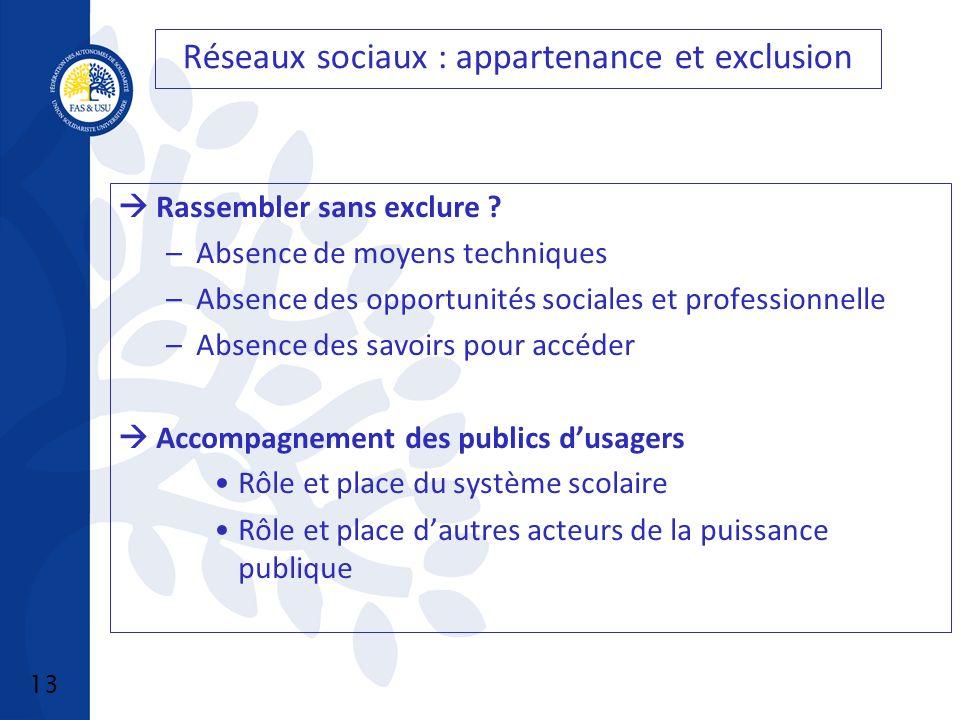 13 Réseaux sociaux : appartenance et exclusion Rassembler sans exclure .