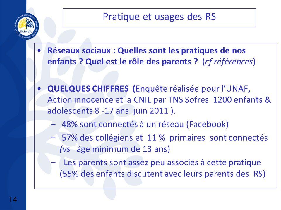 14 Pratique et usages des RS Réseaux sociaux : Quelles sont les pratiques de nos enfants .