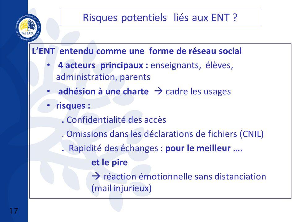 17 Risques potentiels liés aux ENT .