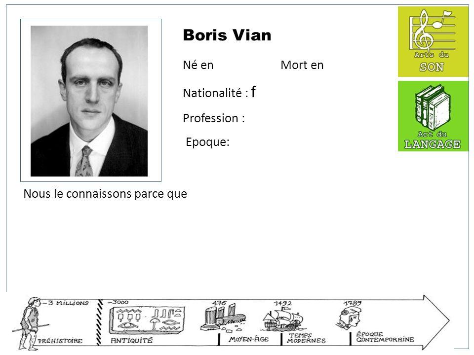Boris Vian Né en Mort en Nationalité : f Profession : Epoque: Nous le connaissons parce que