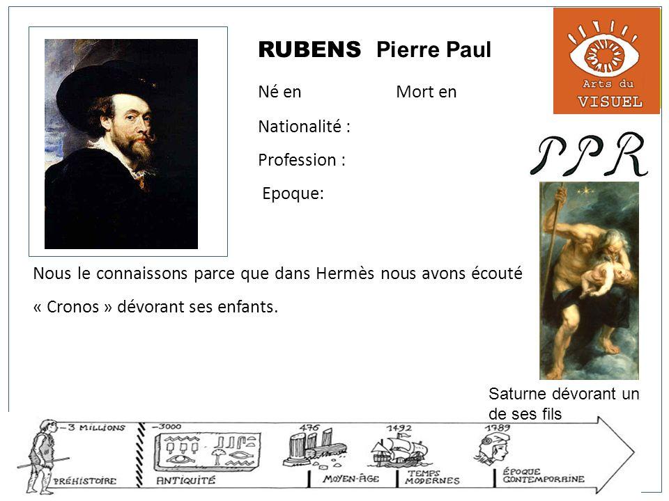 RUBENS Pierre Paul Né en Mort en Nationalité : Profession : Epoque: Nous le connaissons parce que dans Hermès nous avons écouté « Cronos » dévorant se