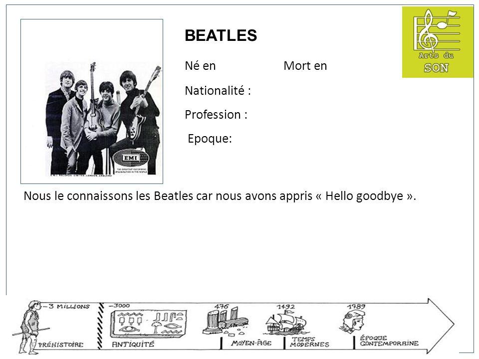 BEATLES Né en Mort en Nationalité : Profession : Epoque: Nous le connaissons les Beatles car nous avons appris « Hello goodbye ».