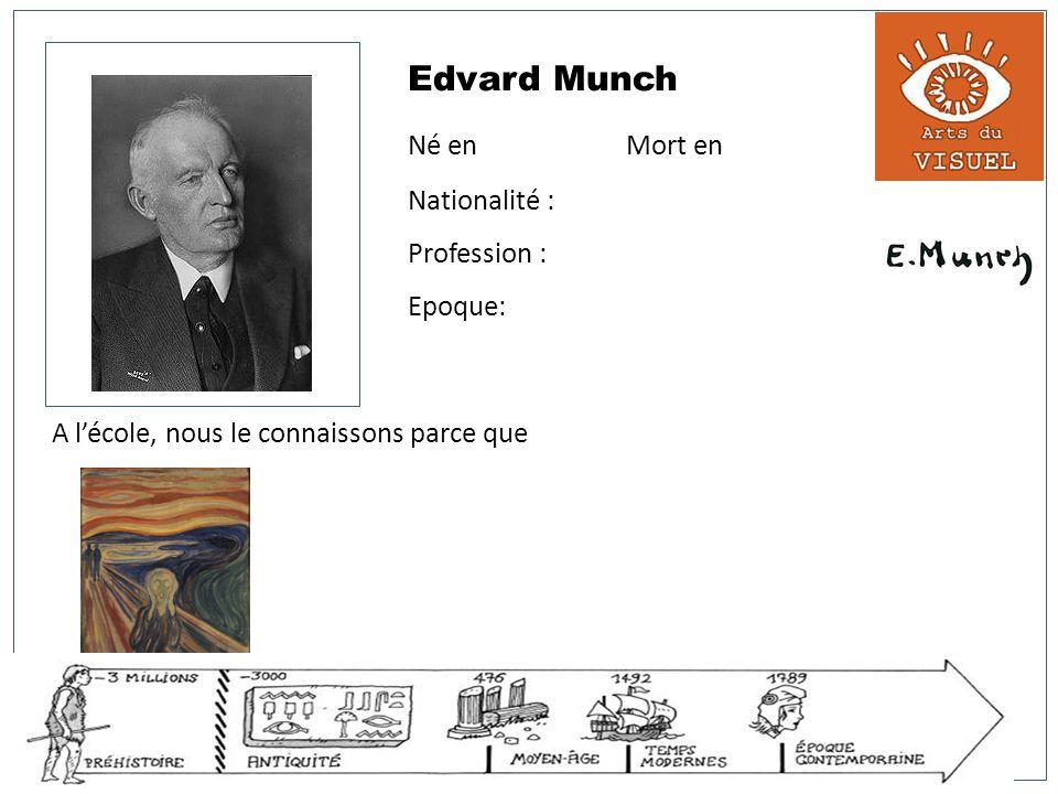 Edvard Munch Né en Mort en Nationalité : Profession : Epoque: A lécole, nous le connaissons parce que