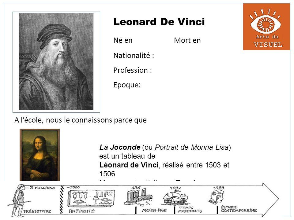 Leonard De Vinci Né en Mort en Nationalité : Profession : Epoque: A lécole, nous le connaissons parce que La Joconde (ou Portrait de Monna Lisa) est u