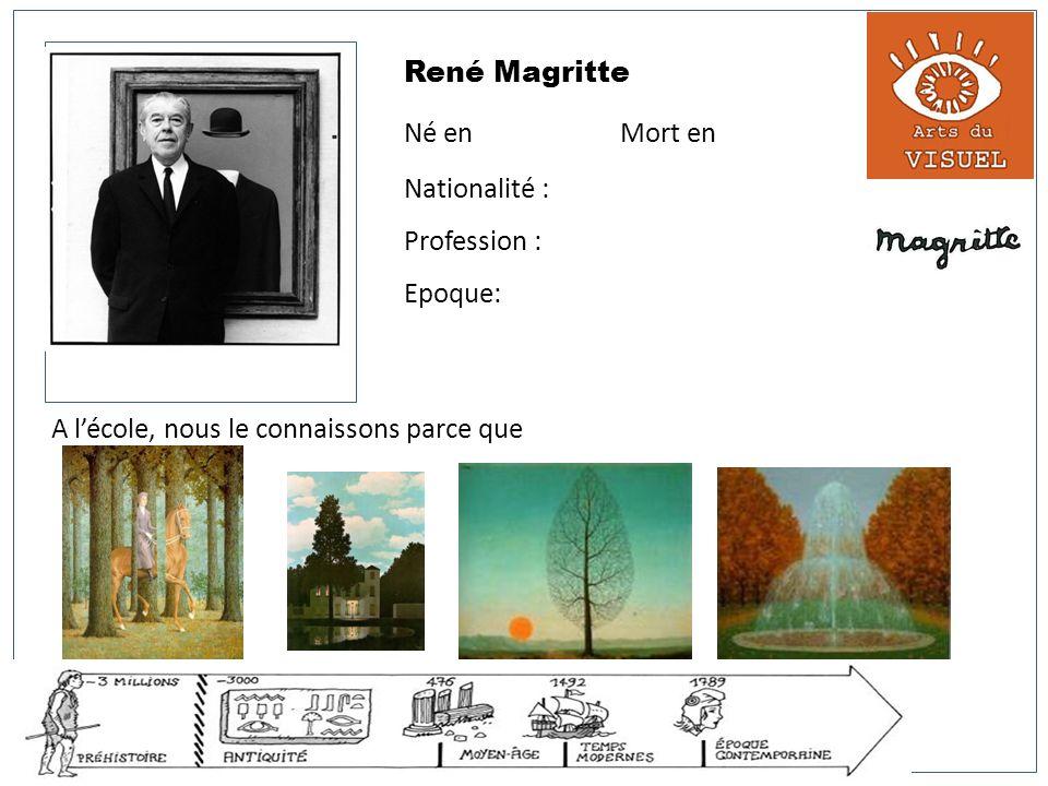 René Magritte Né en Mort en Nationalité : Profession : Epoque: A lécole, nous le connaissons parce que