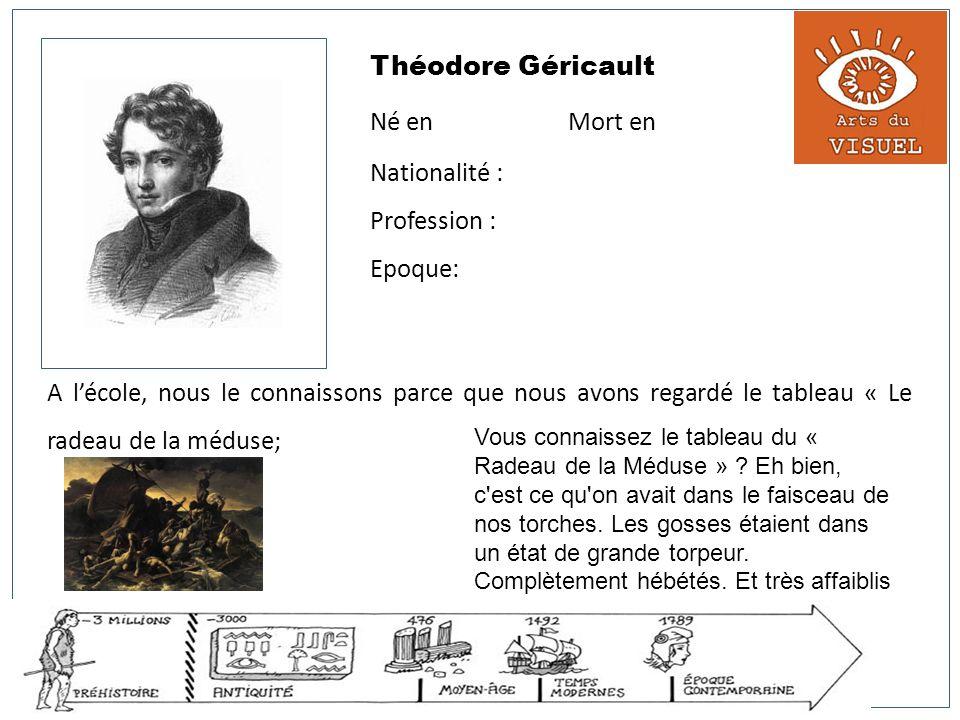 Théodore Géricault Né en Mort en Nationalité : Profession : Epoque: A lécole, nous le connaissons parce que nous avons regardé le tableau « Le radeau