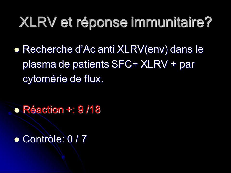 XLRV et réponse immunitaire? Recherche dAc anti XLRV(env) dans le plasma de patients SFC+ XLRV + par cytomérie de flux. Recherche dAc anti XLRV(env) d