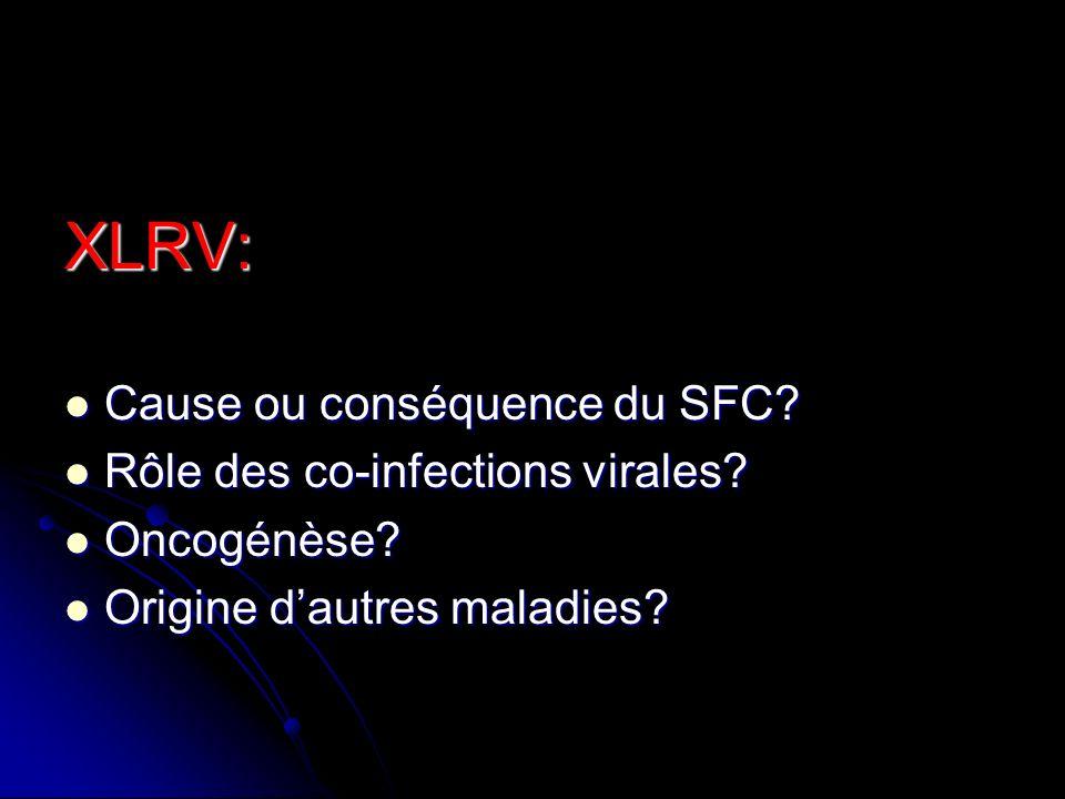 XLRV: Cause ou conséquence du SFC? Cause ou conséquence du SFC? Rôle des co-infections virales? Rôle des co-infections virales? Oncogénèse? Oncogénèse