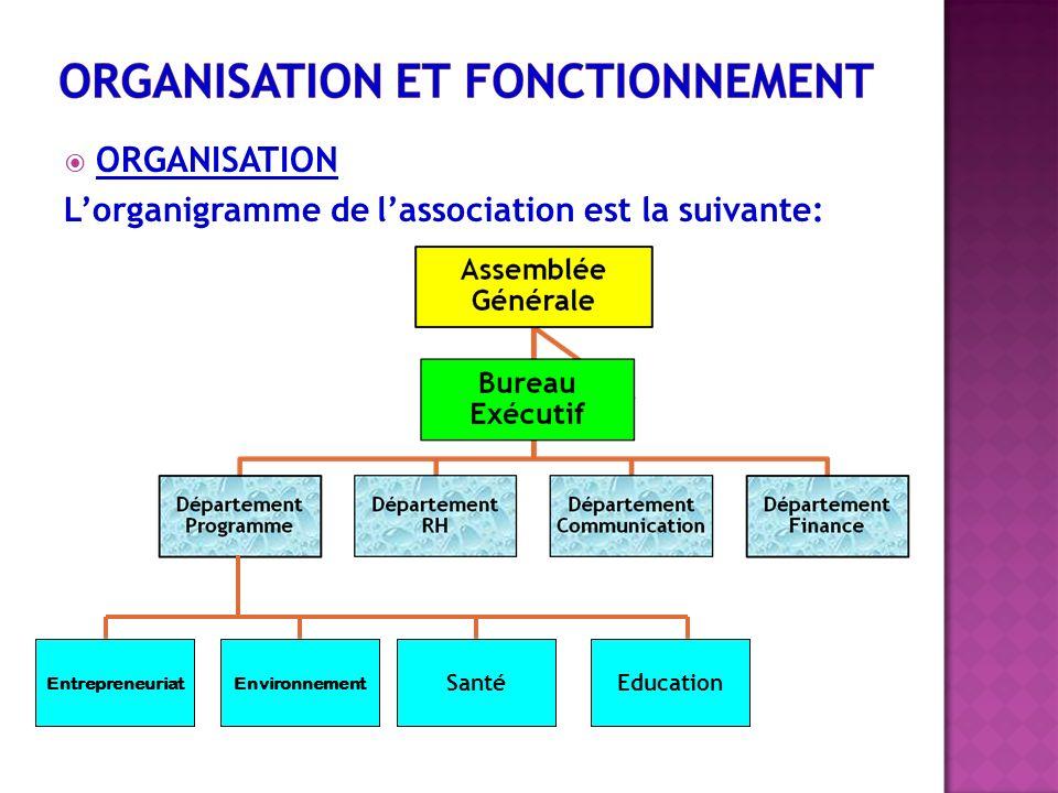 ORGANISATION Lorganigramme de lassociation est la suivante: EntrepreneuriatEnvironnement SantéEducation