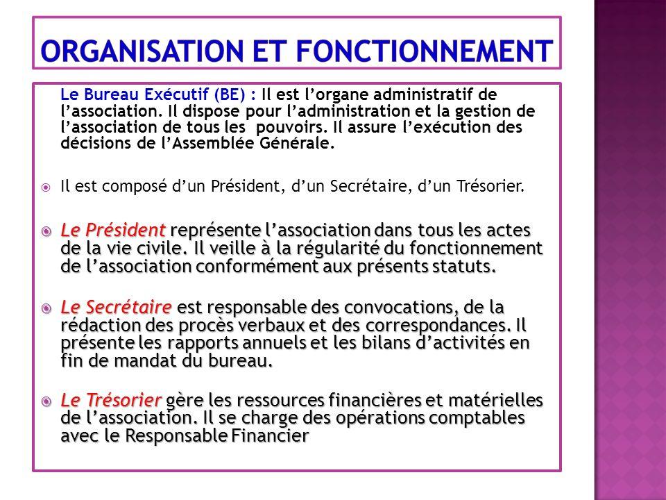 Le Bureau Exécutif (BE) : Il est lorgane administratif de lassociation. Il dispose pour ladministration et la gestion de lassociation de tous les pouv