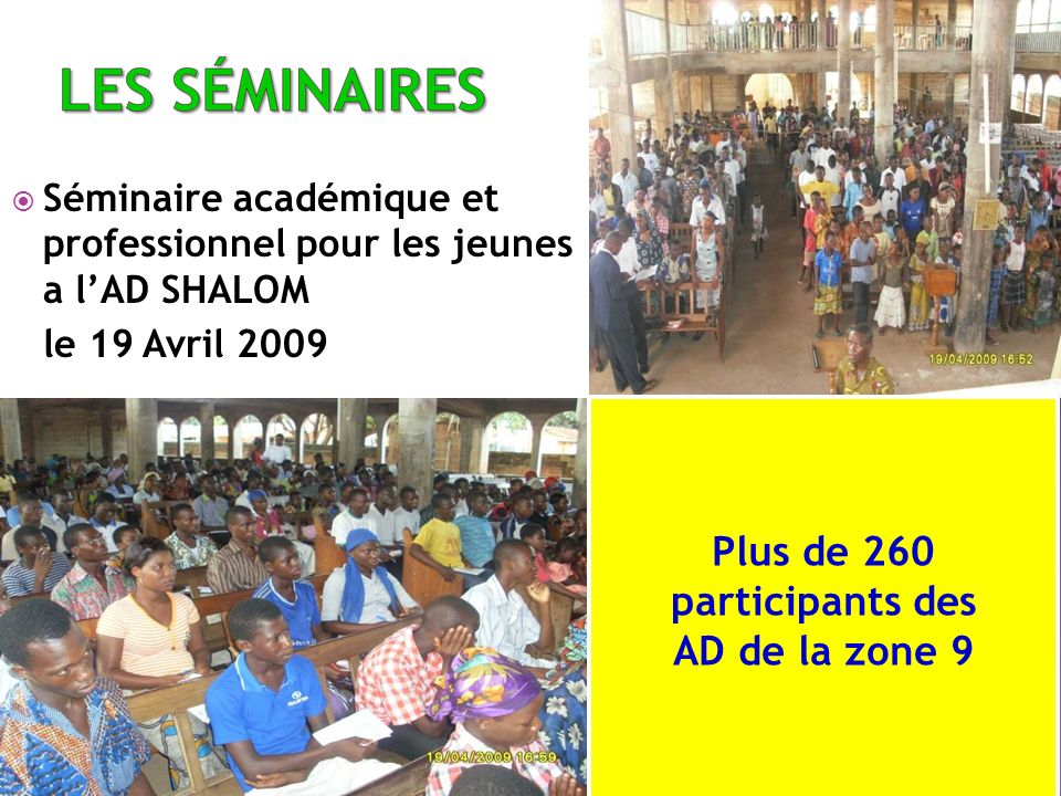 Séminaire académique et professionnel pour les jeunes a lAD SHALOM le 19 Avril 2009 Plus de 260 participants des AD de la zone 9