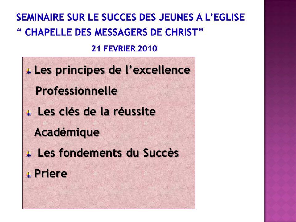 Les principes de lexcellence Professionnelle Professionnelle Les clés de la réussite Académique Les clés de la réussite Académique Les fondements du S