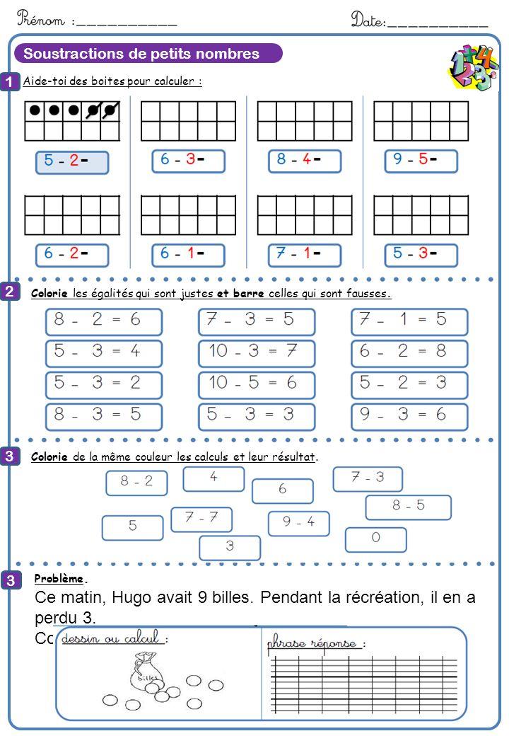 Soustractions de petits nombres Aide-toi des boites pour calculer : 1 2 3 8 Calcule Colorie les égalités qui sont justes et barre celles qui sont faus
