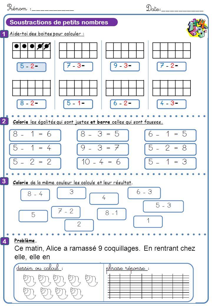 Soustractions de petits nombres Aide-toi des boites pour calculer : 1 2 4 8 Calcule Colorie les égalités qui sont justes et barre celles qui sont faus