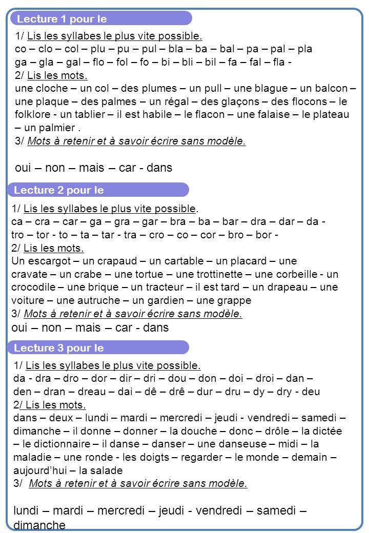 Lecture 1 pour le 1/ Lis les syllabes le plus vite possible.