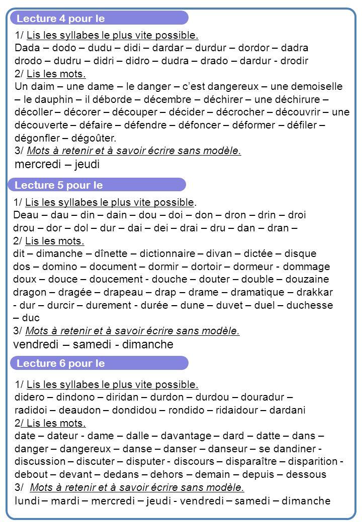 Lecture 7 pour le 1/ Lis les syllabes le plus vite possible.