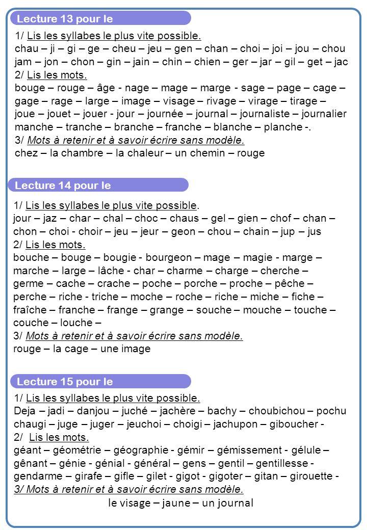 Lecture 13 pour le 1/ Lis les syllabes le plus vite possible.
