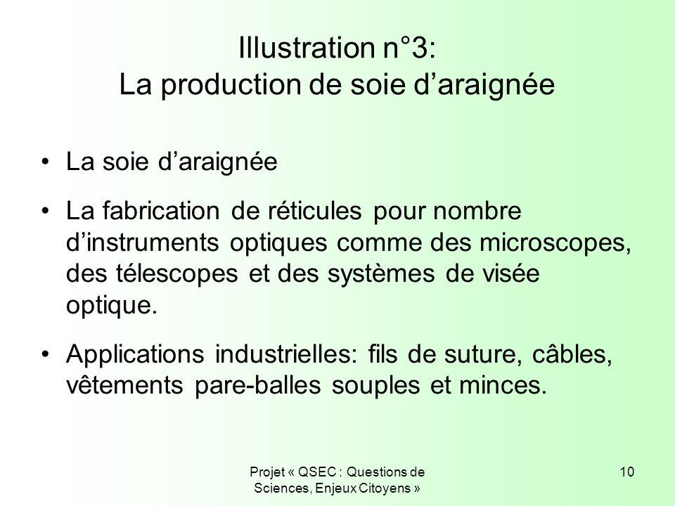 Projet « QSEC : Questions de Sciences, Enjeux Citoyens » 10 Illustration n°3: La production de soie daraignée La soie daraignée La fabrication de réti