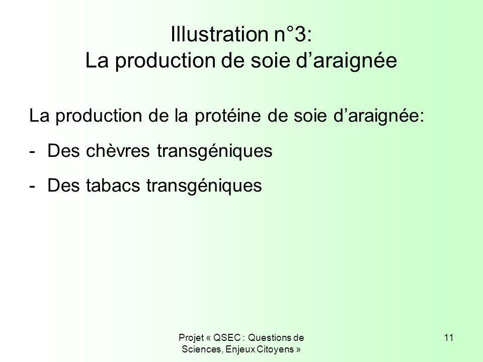 Projet « QSEC : Questions de Sciences, Enjeux Citoyens » 11 Illustration n°3: La production de soie daraignée La production de la protéine de soie dar