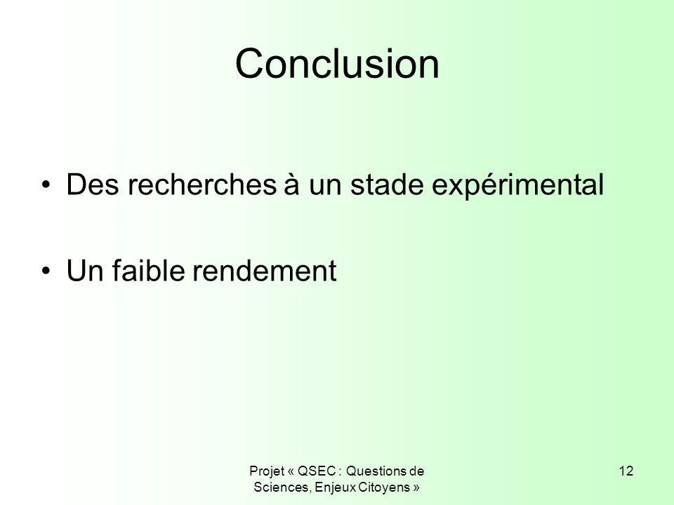 Projet « QSEC : Questions de Sciences, Enjeux Citoyens » 12 Conclusion Des recherches à un stade expérimental Un faible rendement