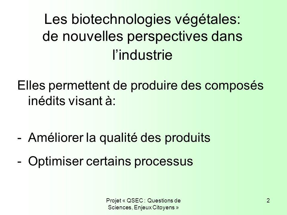 Projet « QSEC : Questions de Sciences, Enjeux Citoyens » 2 Les biotechnologies végétales: de nouvelles perspectives dans lindustrie Elles permettent d