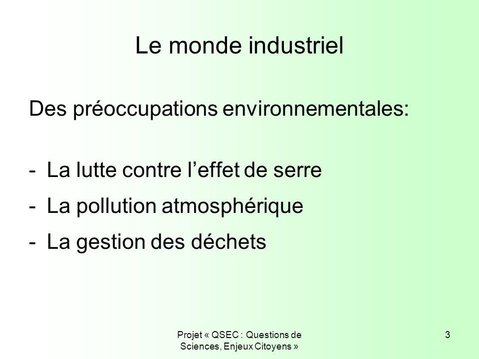Projet « QSEC : Questions de Sciences, Enjeux Citoyens » 3 Le monde industriel Des préoccupations environnementales: -La lutte contre leffet de serre