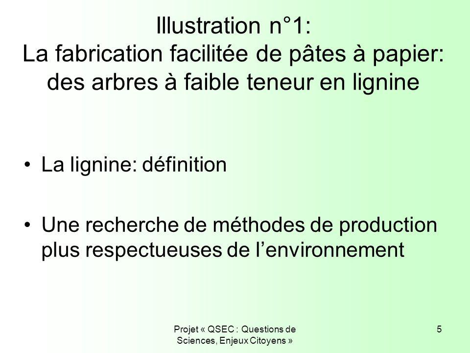 Projet « QSEC : Questions de Sciences, Enjeux Citoyens » 5 Illustration n°1: La fabrication facilitée de pâtes à papier: des arbres à faible teneur en