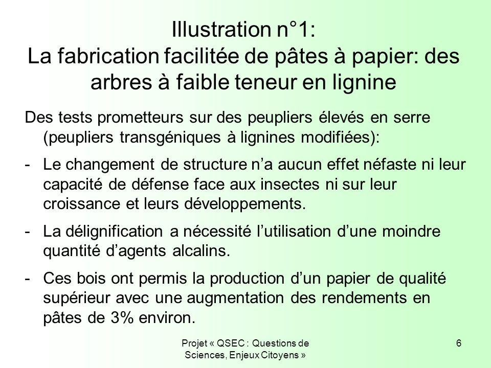 Projet « QSEC : Questions de Sciences, Enjeux Citoyens » 6 Illustration n°1: La fabrication facilitée de pâtes à papier: des arbres à faible teneur en