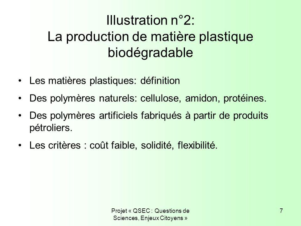 Projet « QSEC : Questions de Sciences, Enjeux Citoyens » 7 Illustration n°2: La production de matière plastique biodégradable Les matières plastiques: