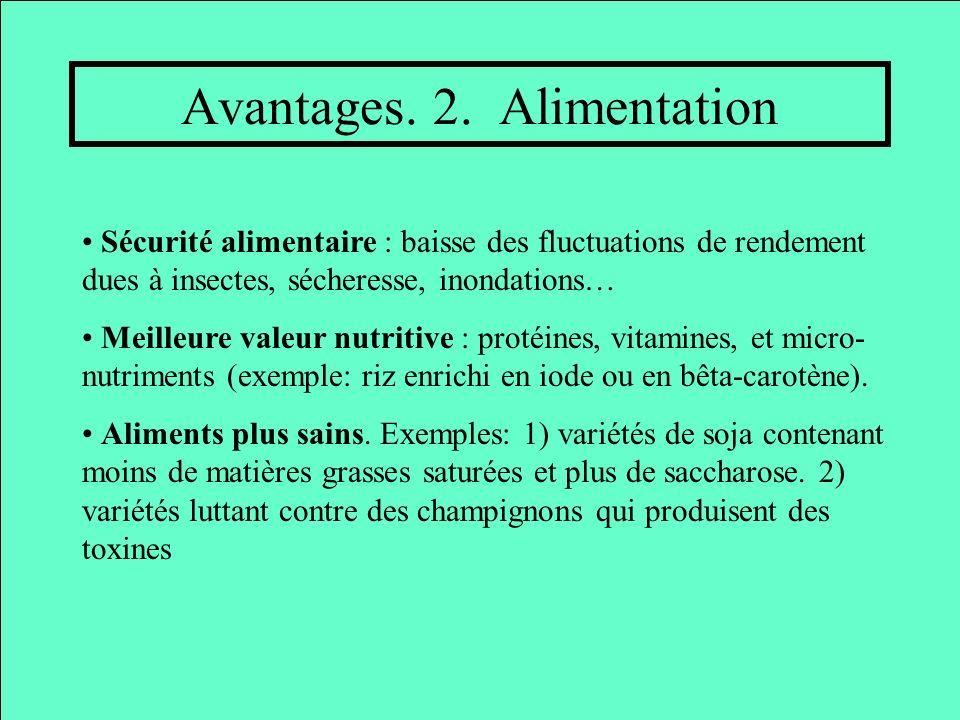 Avantages. 2. Alimentation Sécurité alimentaire : baisse des fluctuations de rendement dues à insectes, sécheresse, inondations… Meilleure valeur nutr