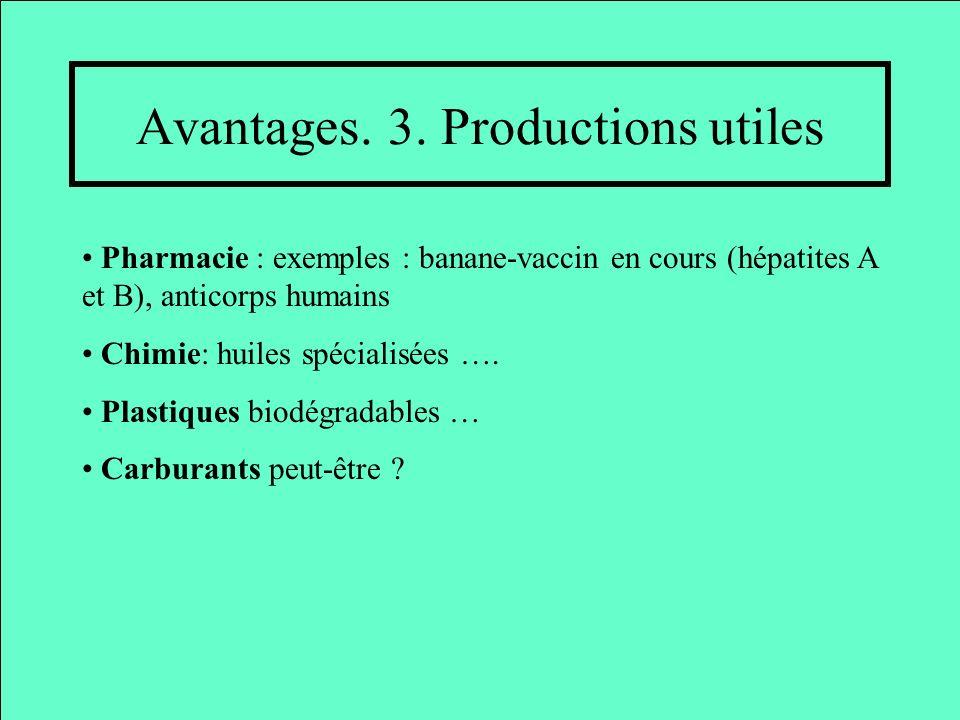 Avantages. 3. Productions utiles Pharmacie : exemples : banane-vaccin en cours (hépatites A et B), anticorps humains Chimie: huiles spécialisées …. Pl