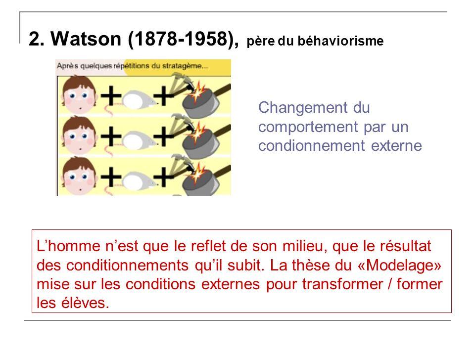 2. Watson (1878-1958), père du béhaviorisme Changement du comportement par un condionnement externe Lhomme nest que le reflet de son milieu, que le ré