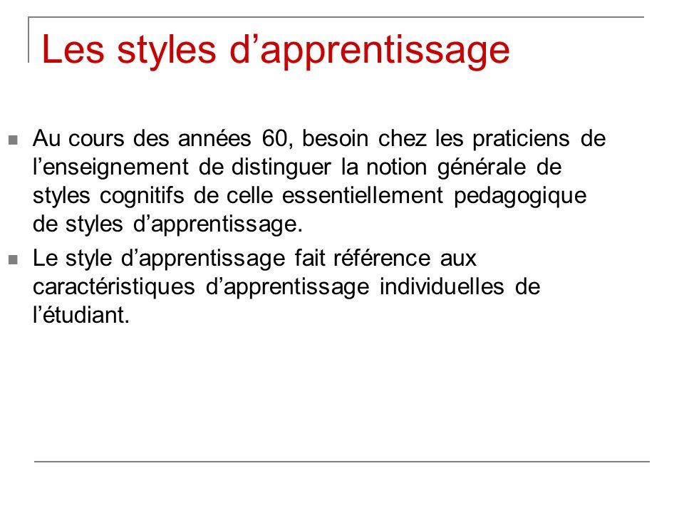 Les styles dapprentissage Au cours des années 60, besoin chez les praticiens de lenseignement de distinguer la notion générale de styles cognitifs de