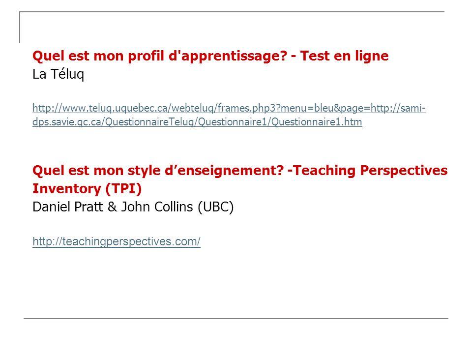 Quel est mon profil d'apprentissage? - Test en ligne La Téluq http://www.teluq.uquebec.ca/webteluq/frames.php3?menu=bleu&page=http://sami- dps.savie.q