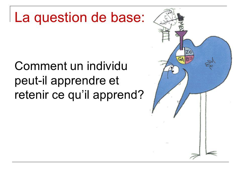La question de base: Comment un individu peut-il apprendre et retenir ce quil apprend?