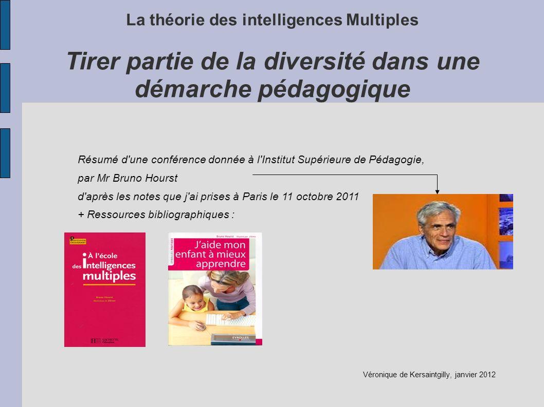 La théorie des intelligences Multiples Tirer partie de la diversité dans une démarche pédagogique Résumé d'une conférence donnée à l'Institut Supérieu