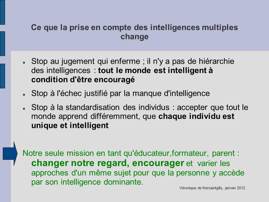 Ce que la prise en compte des intelligences multiples change Stop au jugement qui enferme ; il n'y a pas de hiérarchie des intelligences : tout le mon