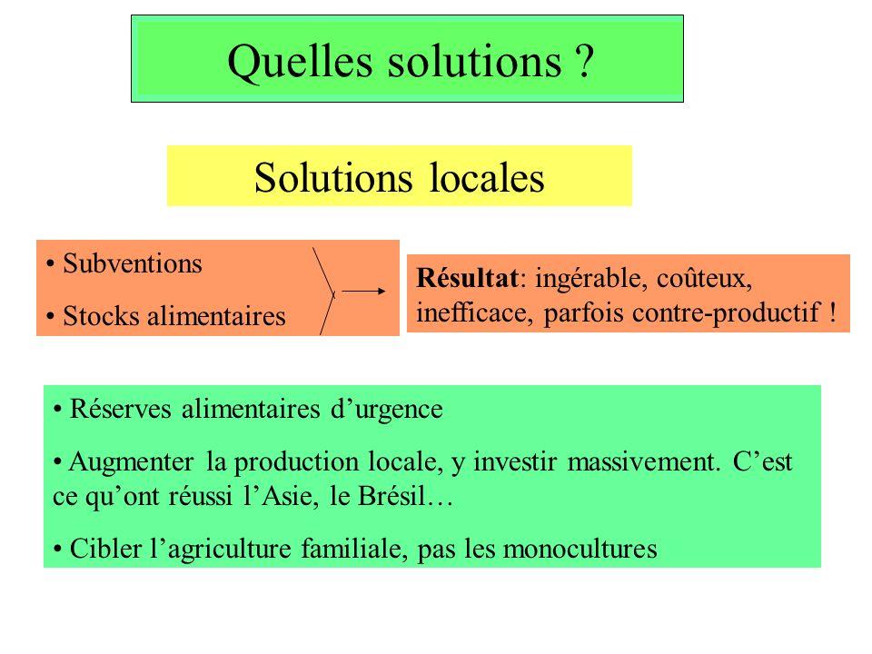 Quelles solutions ? Subventions Stocks alimentaires Résultat: ingérable, coûteux, inefficace, parfois contre-productif ! Solutions locales Réserves al