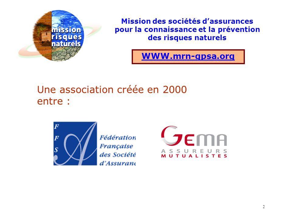 Une association créée en 2000 entre : WWW.mrn-gpsa.org Mission des sociétés dassurances pour la connaissance et la prévention des risques naturels 2