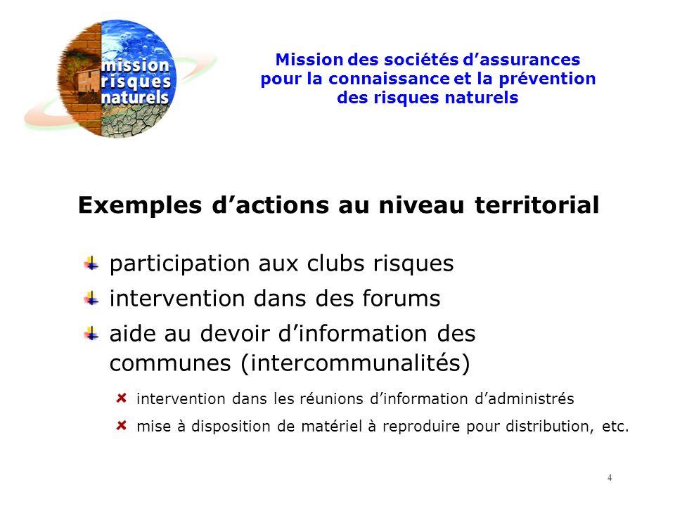 participation aux clubs risques intervention dans des forums aide au devoir dinformation des communes (intercommunalités) Exemples dactions au niveau territorial intervention dans les réunions dinformation dadministrés mise à disposition de matériel à reproduire pour distribution, etc.