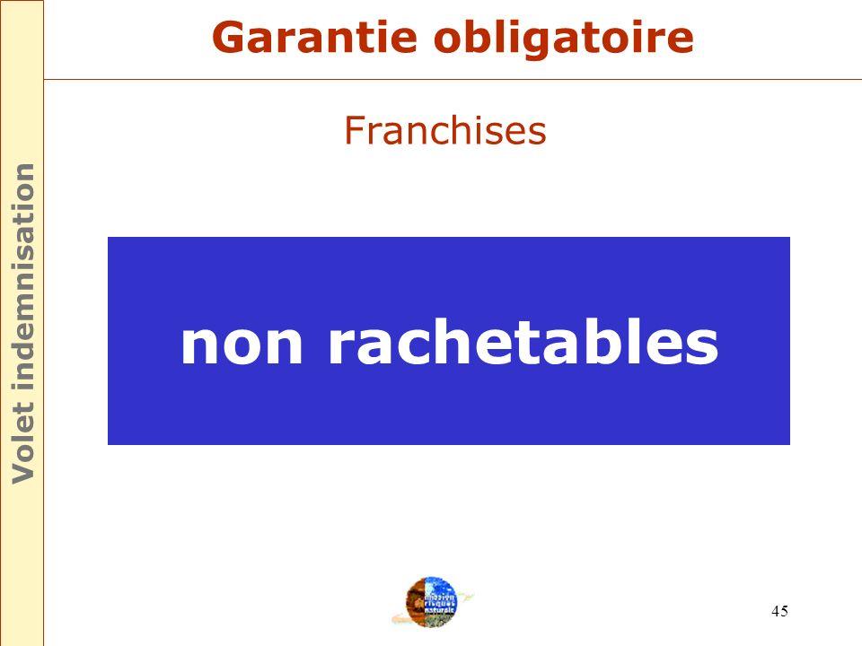 44 Franchises Pertes dexploitation 3 jours dactivité Minimum 1140 Garantie obligatoire Volet indemnisation