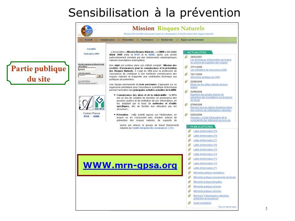 WWW.mrn-gpsa.org Sensibilisation à la prévention Partie publique du site 5