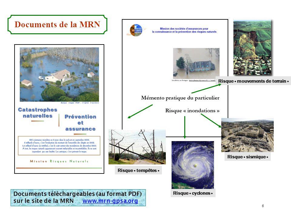 Risque « cyclones » Risque « sismique » Documents de la MRN Risque « tempêtes » Risque « mouvements de terrain » Documents téléchargeables (au format PDF) sur le site de la MRN www.mrn-gpsa.org 6