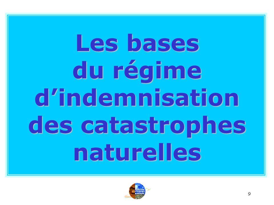 9 Les bases du régime dindemnisation des catastrophes naturelles