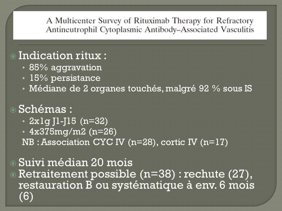 Indication ritux : 85% aggravation 15% persistance Médiane de 2 organes touchés, malgré 92 % sous IS Schémas : 2x1g J1-J15 (n=32) 4x375mg/m2 (n=26) NB